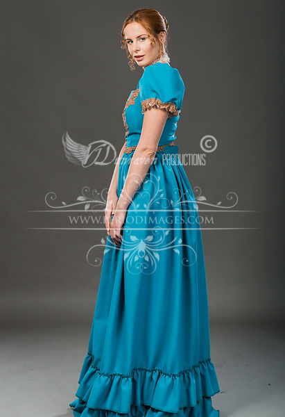 Image 2 of Victorian Turquoise Walking Dress