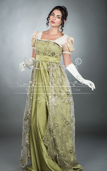 Image 0 of Regency Embroidered Olive Gown