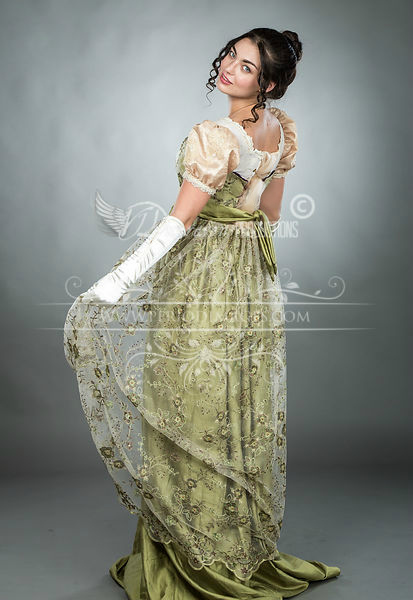 Image 1 of Regency Embroidered Olive Gown