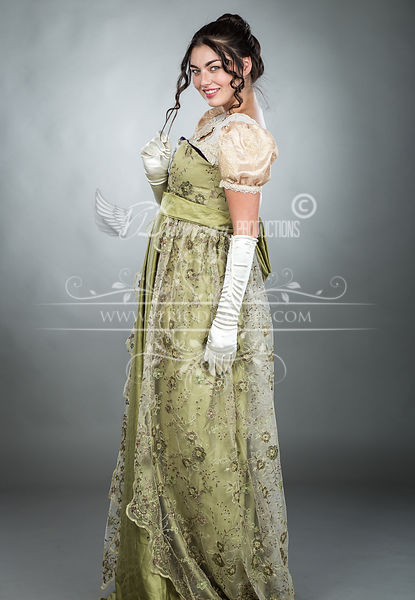 Image 2 of Regency Embroidered Olive Gown