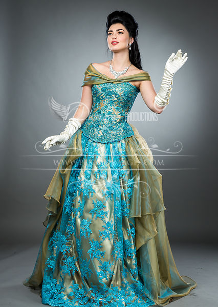 Image 0 of Hand-beaded Turquoise Victorian Ball Gown