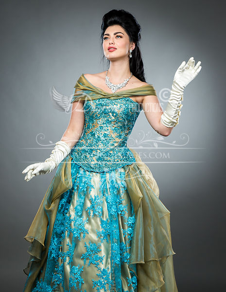 Image 1 of Hand-beaded Turquoise Victorian Ball Gown