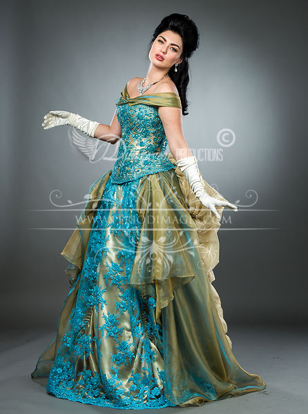 Image 2 of Hand-beaded Turquoise Victorian Ball Gown