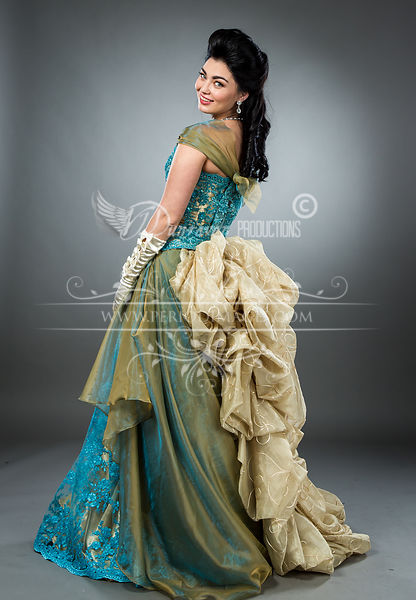 Image 3 of Hand-beaded Turquoise Victorian Ball Gown
