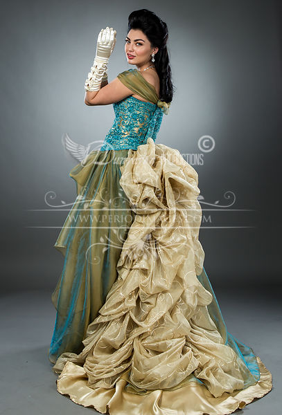Image 4 of Hand-beaded Turquoise Victorian Ball Gown