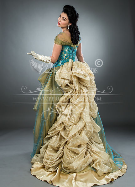 Image 5 of Hand-beaded Turquoise Victorian Ball Gown