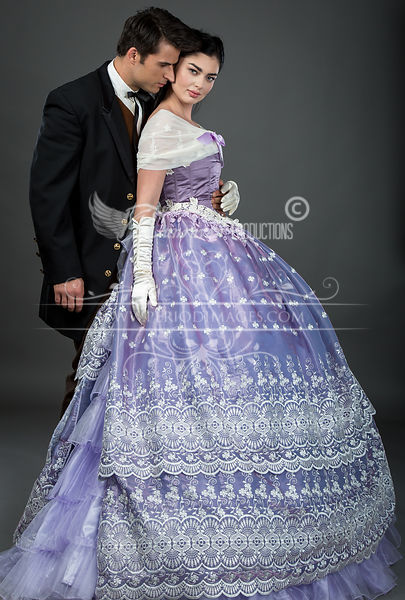 Image 0 of Embroidered Lavender Victorian Ball Gown