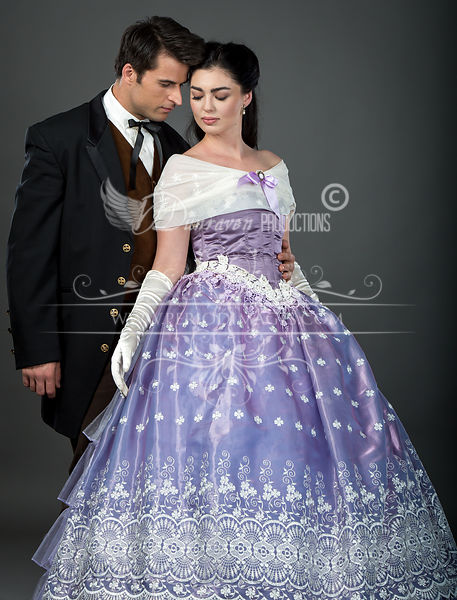 Image 1 of Embroidered Lavender Victorian Ball Gown