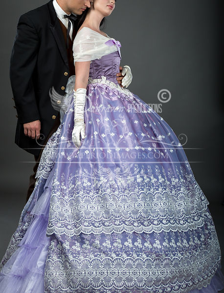 Image 2 of Embroidered Lavender Victorian Ball Gown