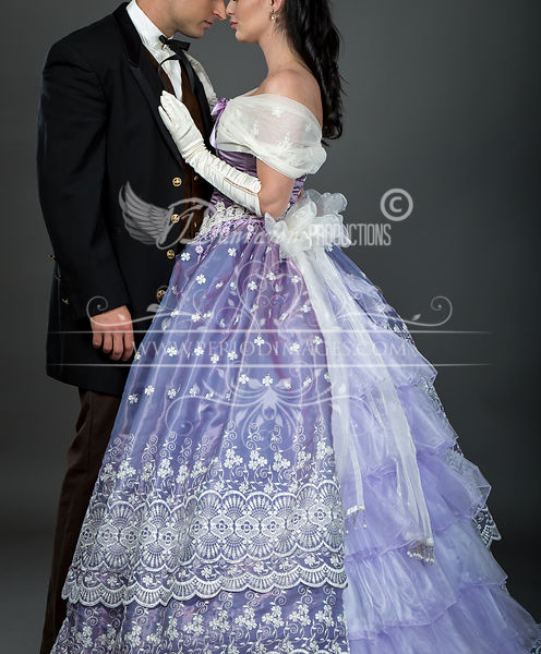 Image 4 of Embroidered Lavender Victorian Ball Gown