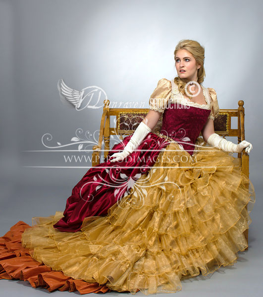 Image 0 of Burgundy & Gold Victorian Ball Gown