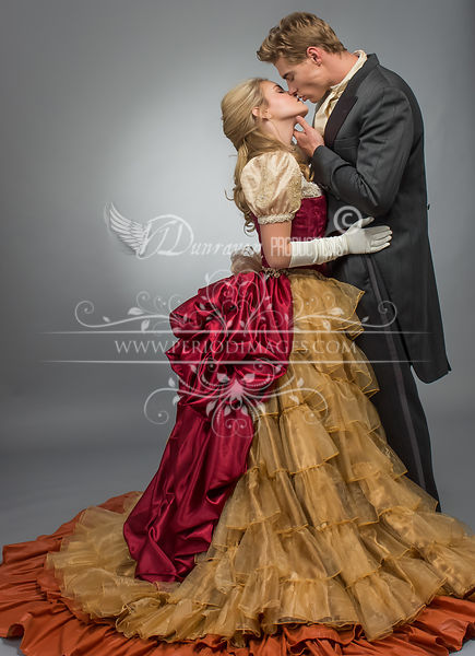Image 1 of Burgundy & Gold Victorian Ball Gown