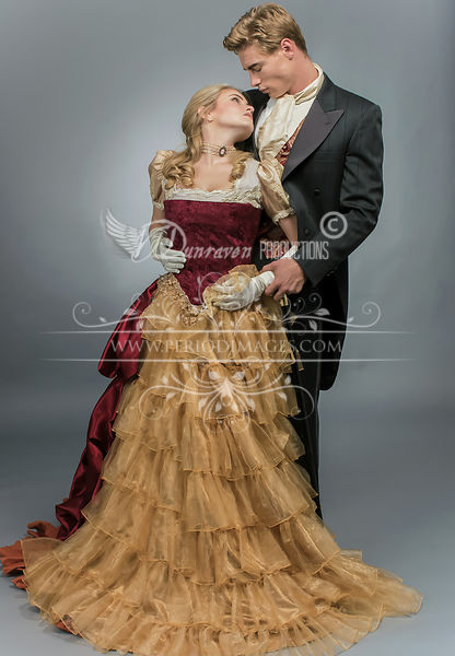 Image 3 of Burgundy & Gold Victorian Ball Gown