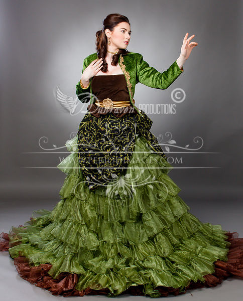 Image 1 of Willow Green Victorian Ball Gown
