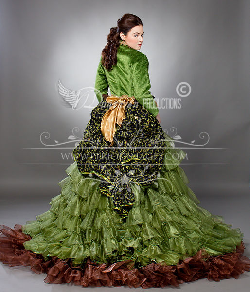 Image 2 of Willow Green Victorian Ball Gown