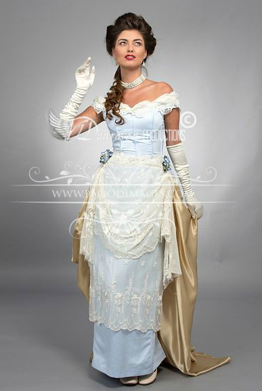 Image 0 of Pale Periwinkle Victorian Promenade Gown