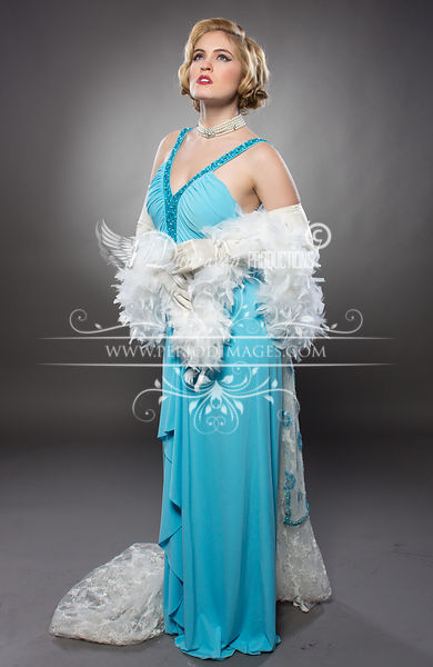 Image 0 of Old Hollywood Turquoise Glamour Dress