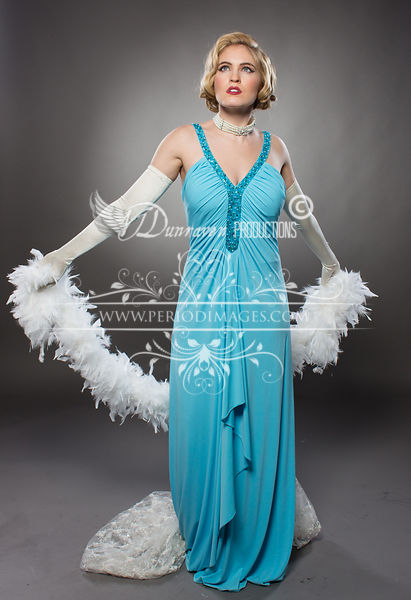 Image 1 of Old Hollywood Turquoise Glamour Dress