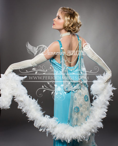 Image 2 of Old Hollywood Turquoise Glamour Dress