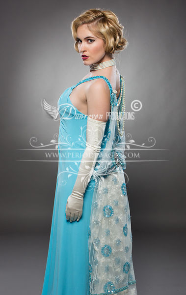 Image 3 of Old Hollywood Turquoise Glamour Dress