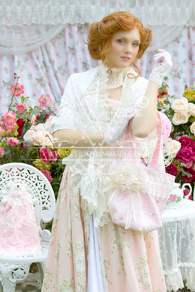 Image 0 of Pink and Ivory Victorian Promenade Gown