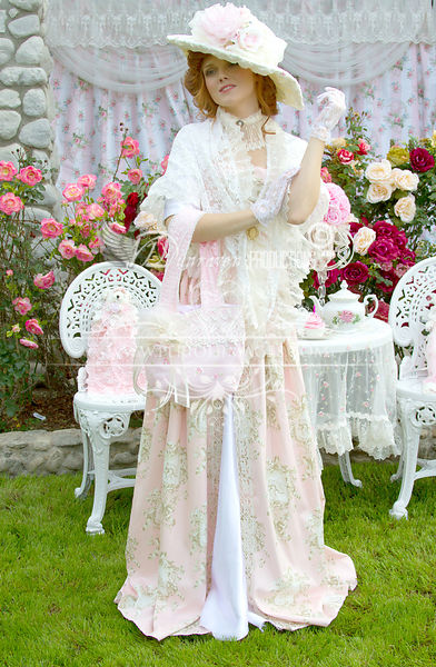 Image 1 of Pink and Ivory Victorian Promenade Gown