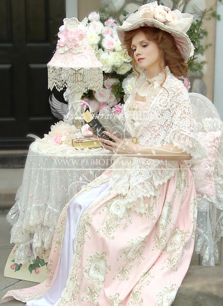 Image 2 of Pink and Ivory Victorian Promenade Gown