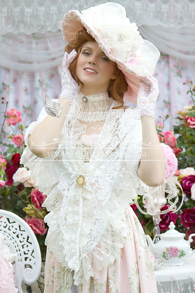 Image 3 of Pink and Ivory Victorian Promenade Gown
