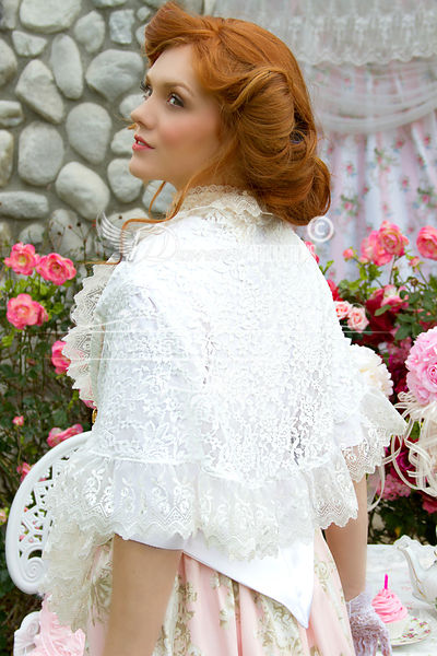 Image 4 of Pink and Ivory Victorian Promenade Gown