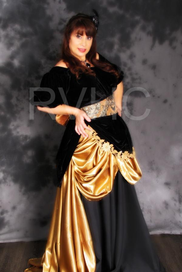 Image 0 of Black & Gold Victorian Dress