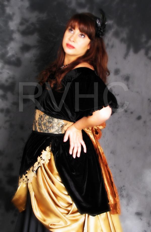 Image 1 of Black & Gold Victorian Dress