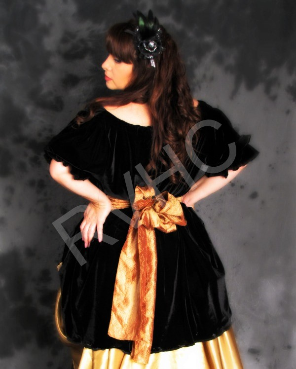 Image 2 of Black & Gold Victorian Dress
