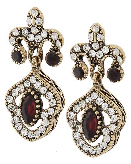 Image 0 of Georgian Style Ruby Red Earrings
