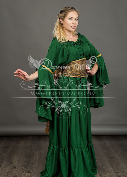 Image 0 of Hunter Green Medieval Dress