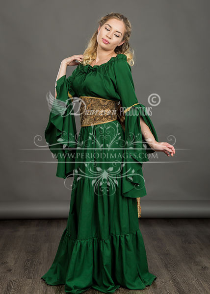Image 1 of Hunter Green Medieval Dress