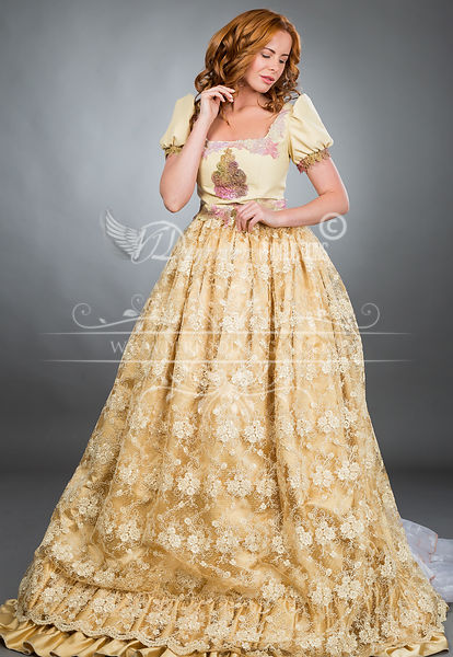 Image 2 of Light Gold Victorian Ball Gown