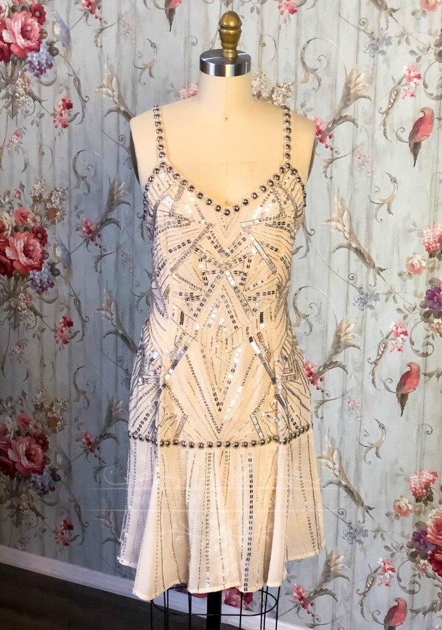 Image 1 of 1920's Vintage Blush Beaded Dress
