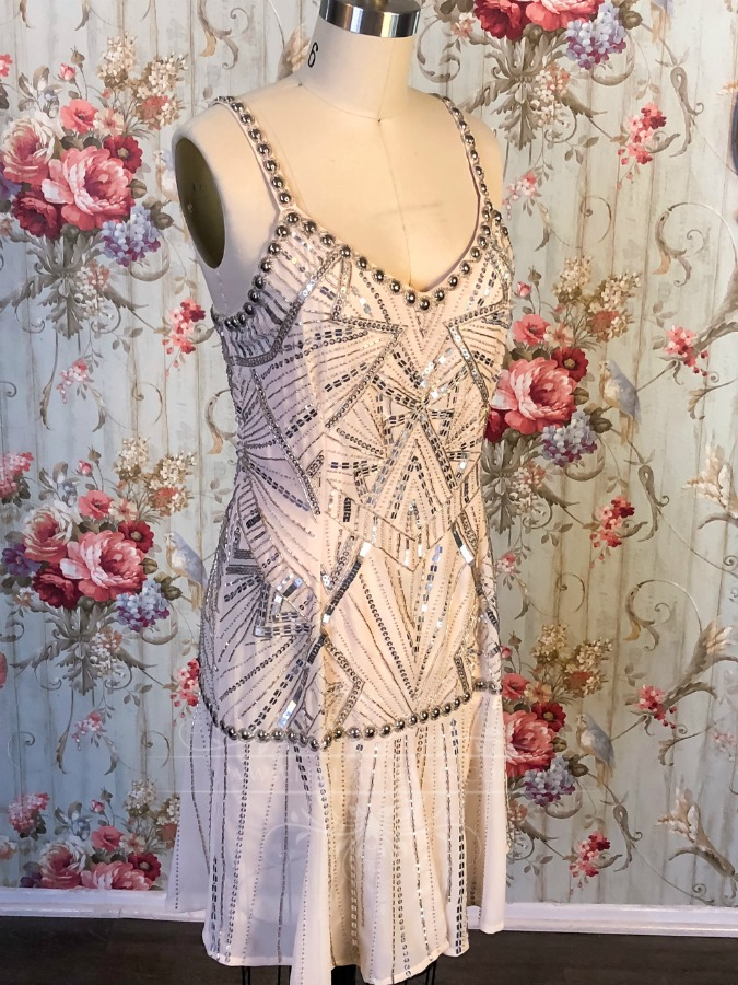 Image 0 of 1920's Vintage Blush Beaded Dress