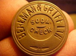 Thumbnail of (Atchison, Kansas) Token: BEREMAN & GRIFFITH SODA CHECK 1889
