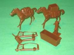 Marx Recast Pair Of Pack Horses, Supplies, And Accessories