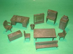 Marx Recast 12 Piece Army HQ Furniture Plastic Set