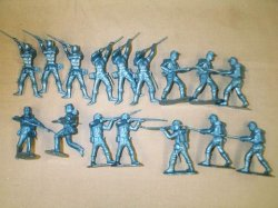 Marx Recast 16 Pc Attacking ACW Union Plastic Soldiers Set
