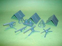 Marx Recast Military Field Equipment Blue Plastic Set