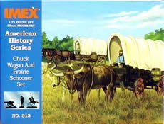 Imex 1/72nd Scale Plastic Prairie Schooner And Chuck Wagon Set 513