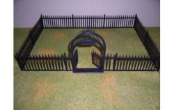 Marx Recast Plastic Wrought Iron Gate And Fence Set