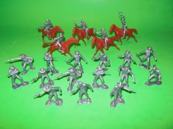 Marx Recast 25 Pc Western Cowboys Plastic Figures Set