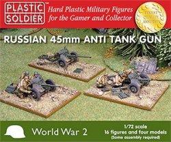 Plastic Soldier Co. 1/72 WWII Russian 45mm Anti-Tank Guns & Crews 7207