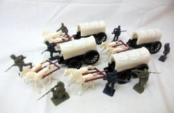 American Civil War Western Plastic Wagons Train & Soldiers Set