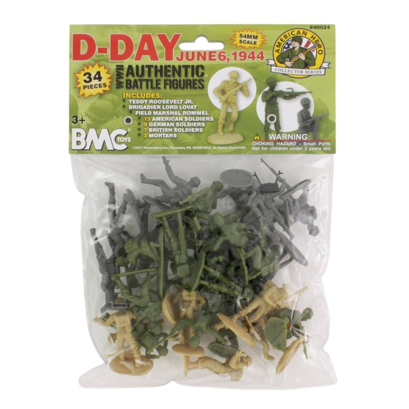 Image 1 of BMC World War II D-Day Plastic Soldiers 34pc Set