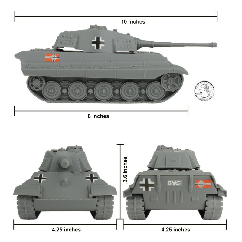 Image 2 of BMC World War II Plastic German Grey Tiger Tank